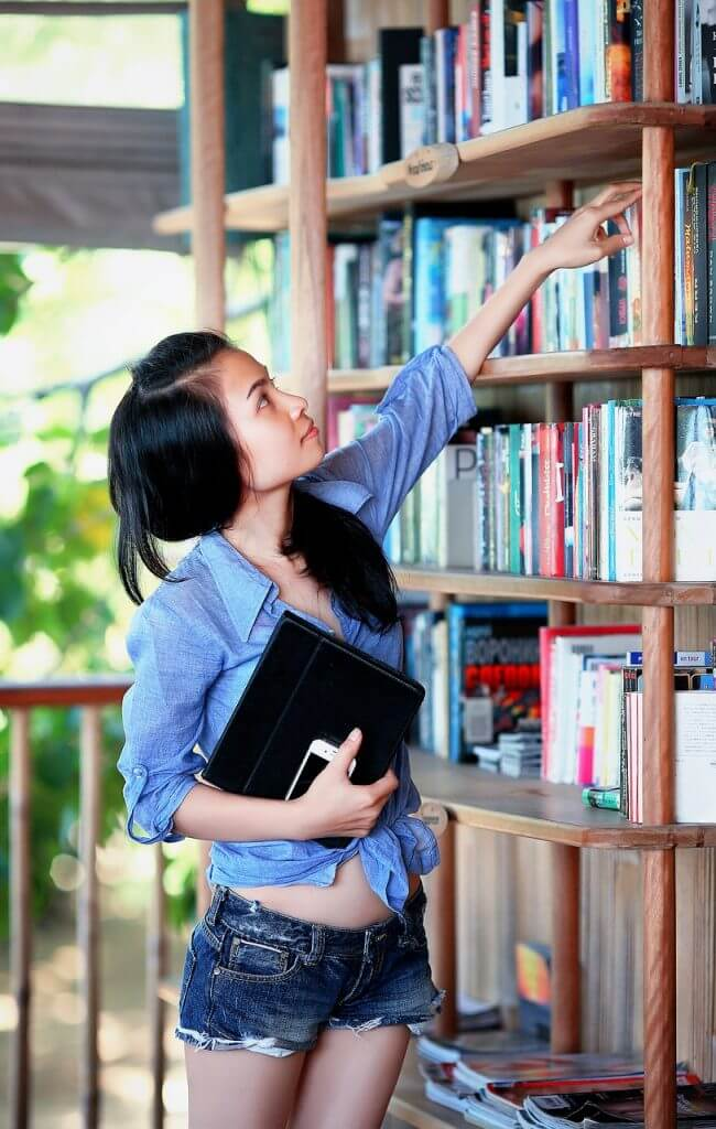 girl, library, education